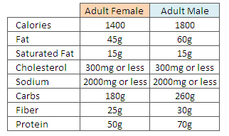General dietary requirements of adults you uneasy